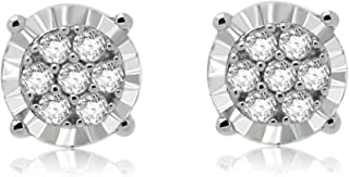 omega jewellery Round Diamond Cluster Stud Earrings Women