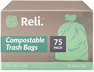 Reli. Compostable 13 Gallon Trash Bags   75 Count   ASTM D6400   Green, Compost 13 Gal Trash Bags (13 Gallo...