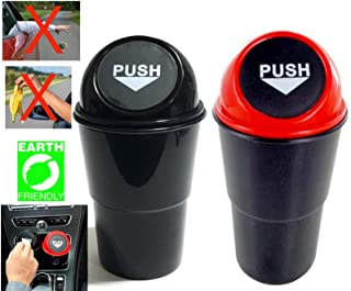 Azi 2 Car Cup Holder Trash Can Garbage Bin with Spring Loaded Lid - Keeps Your Car Clean - for Each Car or Front & Back Seats - Fits Standard Cupholder