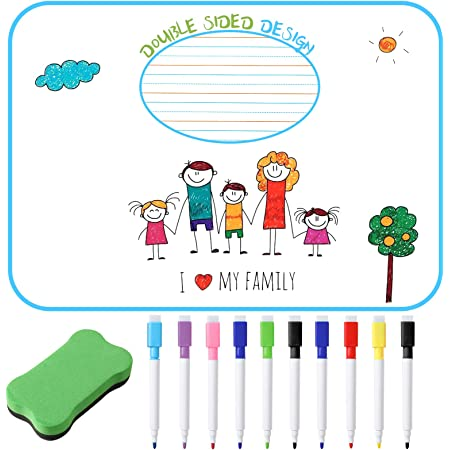 Dry Erase Board for Kids, Magnetic Small White Board for Students, Double Sided with 10 Pcs Dry Erase Markers, 9x12 inch Kids Dry Erase Board, 1 Pack