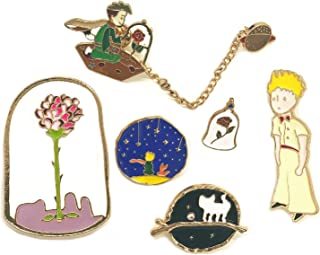 The Little Prince Pins,Le Petit Prince Enamel Pins for Backpacks,Little Prince Brooch,Rose Pin,and Fox Cute Pins Set for T...