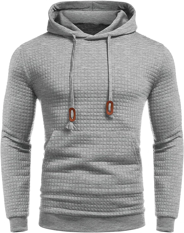 Aayomet Mens Hoodies Pullover Slim Solid Color Plaid Comfy Long Sleeve Sweatshirt Hooded Outwear Hoodies Top Blouse