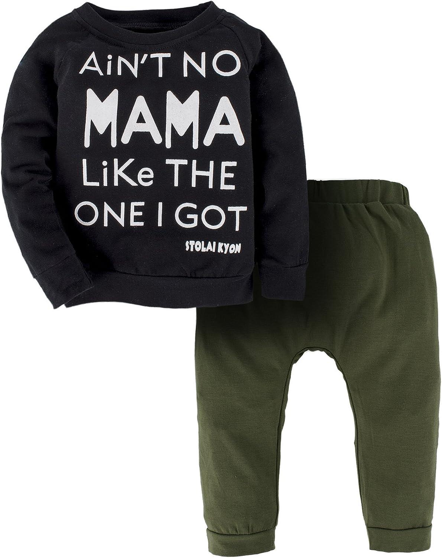 YIJIUJIU Toddler Boys 2 Piece Mamas Outfits Long Sleeve Baby Girls Clothes Letter Tops+Army Green Pants Set