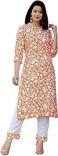 Hardik Fab Women's Rayon Orange Kurti With Palazzo Set