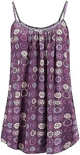 Women's Summer Floral Vest Top Sleeveless Sun Flower Camisole Flowy Casual Tank Tops