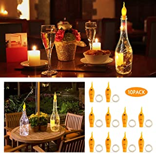 Wine Bottle Lights with Cork, 10 pack Cork Lights, Flickering Flameless Candle Light, 2M 20 Leds, Fairy String For Empty Glass Bottles, Warm White String Lights for Party Christmas Halloween Bar Jar