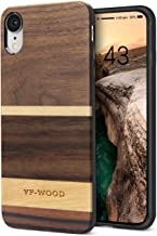 YFWOOD Compatible for iPhone XR Case Wood, Cool Geometric Walnut Wood Grain Slim Cover with Soft Silicone Cushion Scratch Drop Proof Durable Full Body Bumper Protective Case for iPhone XR