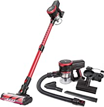 MOOSOO Cordless Vacuum Cleaner, 23Kpa Stick Handheld Vacuum with Brushless Motor Multi-attachments Detachable Battery Exte...