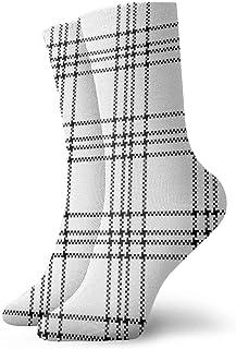 Plaid Pattern Vector Black White Seamless Cushion Sports Work Athletic Crew Socks Men