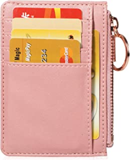 Expouch Womens Coins Purse Slim Wallet Leather Credit Card Holder Front Pocket with Keychain
