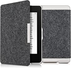 kwmobile Case for Amazon Kindle Paperwhite - Book Style Felt Fabric Protective e-Reader Cover Folio Case - (for 2017 and Older) Dark Grey