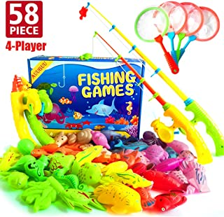 AUUGUU 58 Pcs Magnetic Fishing Toys Game - 4 Poles, Nets & 50 Floating Fishes for Kids Bathtub Water Table Pool Party Floor, Best Gift for Toddler Age 3 4 5 6 Year Old, Bath Toys