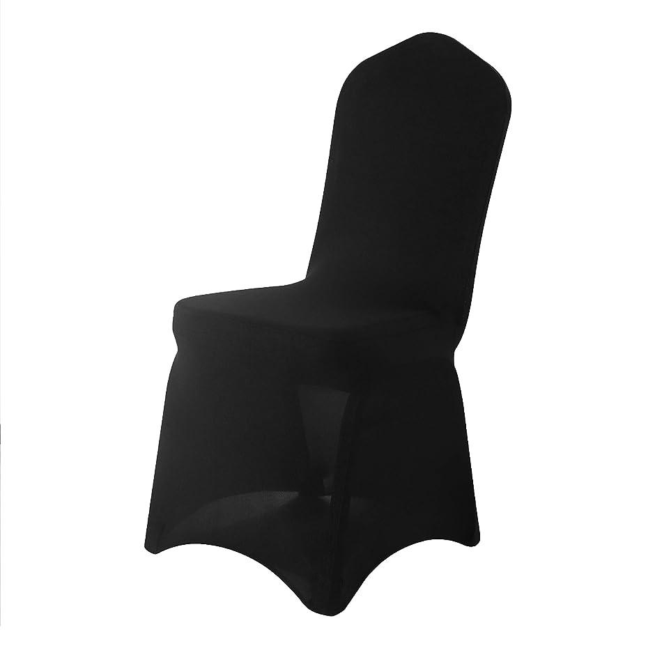 天国消防士葉っぱArcpic ダイニングチェアカバー スパンデックス製 伸縮性 プロテクター 椅子カバー リビングルーム 結婚式 宴会 パーティー用 100 Pcs ブラック L-QB-100P-Black