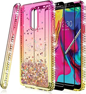 HATOSHI LG Stylo 5 Case with Screen Protector Tempered Glass [2 Pack] for Girls Women, Liquid Glitter Quicksand Sparkle Bling Clear Cute Protective Phone Cover for LG Stylo 5 -Pink/Gold