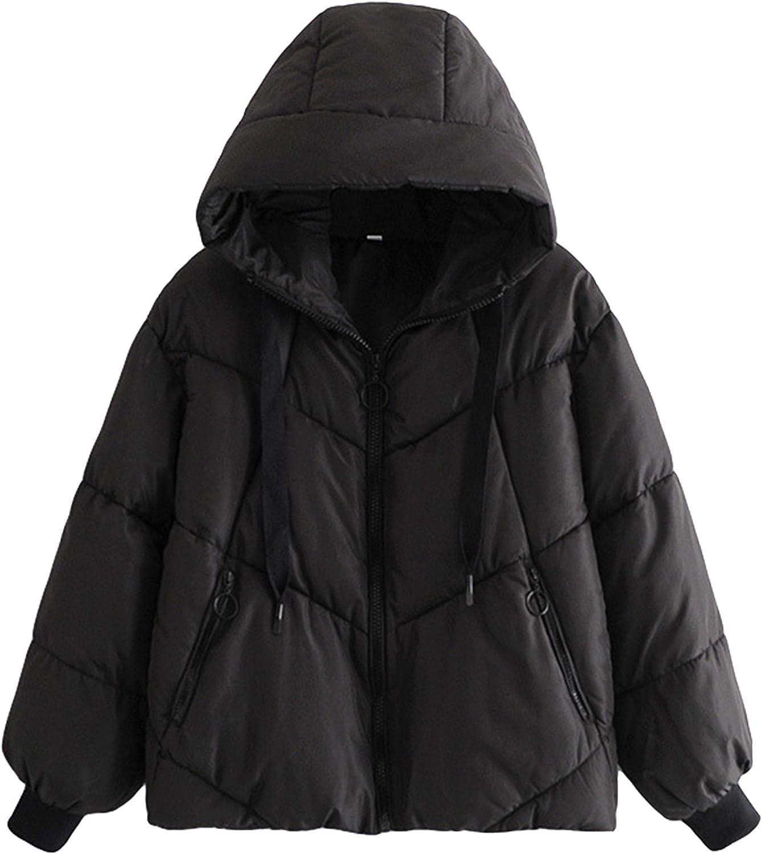 Springrain Women's Zipper Quilted Padded Hoodie Drawstring Winter Puffer Coat