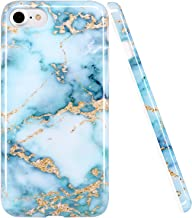 iPhone 7 Case,iPhone 7 Case, LUOLNH Blue and Gold Marble Design Slim Shockproof Flexible Soft Silicone Rubber TPU Bumper Cover Skin Case for iPhone 7/8 4.7 inch