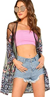 RARITY-US Women Sexy Cardigan Capes Blouse Floral Embroidery Mesh See Through Mesh Kimono for Summer Beachwear