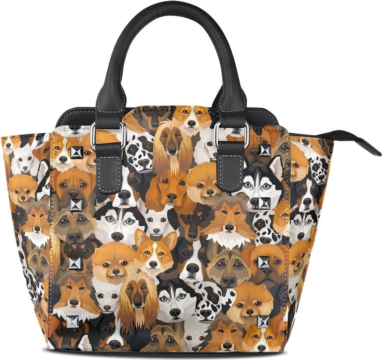 My Little Nest Women's Top Handle Satchel Handbag Funny Different Breeds Dogs Ladies PU Leather Shoulder Bag Crossbody Bag