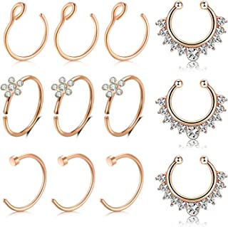 Fake Nose Rings Hoop, 10mm 316L Stainless Steel Nose Septum Ring for Body Piercing Jewelry for Men Women