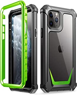 iPhone 11 Pro Case, Poetic Full-Body Hybrid Shockproof Rugged Clear Bumper Cover, Built-in-Screen Protector, Guardian Series, Case for Apple iPhone 11 Pro (2019) 5.8 Inch, Green/Clear