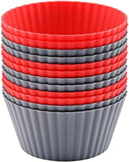 Mirenlife 12 Pack Reusable Nonstick Jumbo Silicone Baking Cups, Cupcake and Muffin Liners, 3.8 Inch Large Size, in Storage...