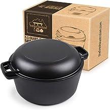 Fresh Australian Kitchen Pre-Seasoned Cast Iron Double Dutch Oven Casserole Pot | Large - 5.2 litres | Tough, Solid and Bu...