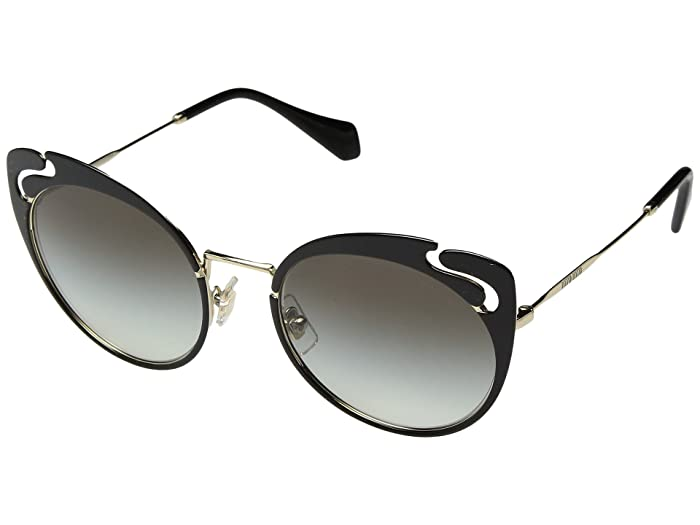 Miu Miu 0MU 57TS (Pale Gold/Black/Grey Gradient) Fashion Sunglasses