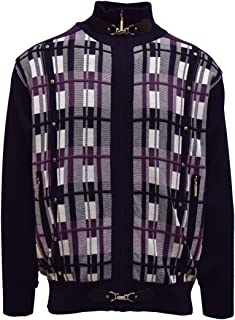 SILVERSILK Men's Sweater, Vertical Stripe Jacquard Design