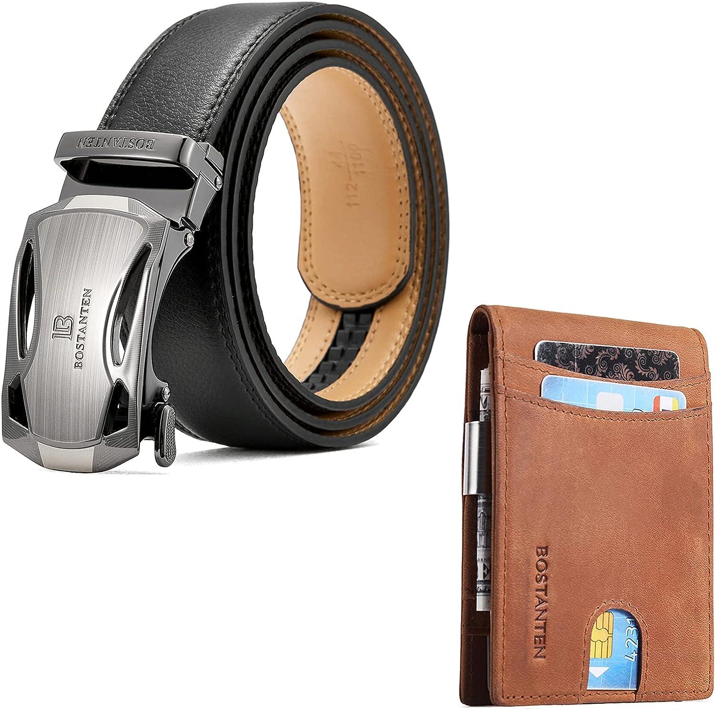 BOSTANTEN Men's Leather Ratchet Dress Belt with Automatic Sliding Buckle and Leather Wallets for Men Bifold Money Clip Slim Front Pocket RFID Blocking Card Holder Brown