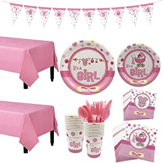 Baby Girl Shower Party Decorations Set, Gender Reveal Party Supplies Tableware Set, Banner, Tablecloth, Plates, Cups, Napkins, Knife, fork, spoon - 127Pcs Can serve 16 guests