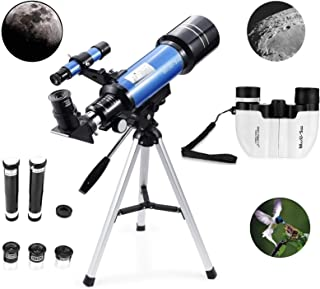 MaxUSee 70mm Refractor Telescope + 8X21 Compact HD Binoculars for Kids and Astronomy..