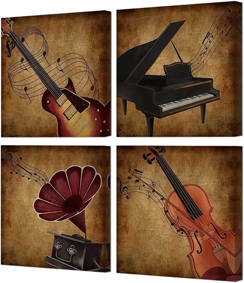 VVOVV Wall Decor 4 Pieces Music Instrument Wall Art Vintage Piano Guitar Violin Musical Painting Picture Canvas Prints, Framed Ready to Hang