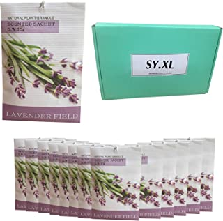 Pack of 12 Sachets with Natural Lavender Fresh Package for Closets Clothes Freshener and Drawers Cupboards Storage Accessories