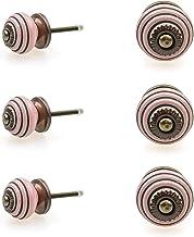 Möbelknopp möbelknopp möbelhandtag uppsättning av 6 KLEIN 126GN_SM cirklar ringar rosa – jay knapp keramik porslin handmål...