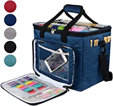 "Hoshin Knitting Bag for Yarn Storage, High Capacity Yarn Totes Organizer with Inner Divider Portable for Carrying Project, Knitting Needles(up to 14""), Crochet Hooks, Skeins of Yarn (Navy)"