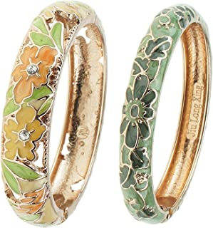 UJOY Fashion Cloisonne Bracelets Enameled Multi-Colors Women's Gifts Bangles Spring Hinged Gold Plated 88A22