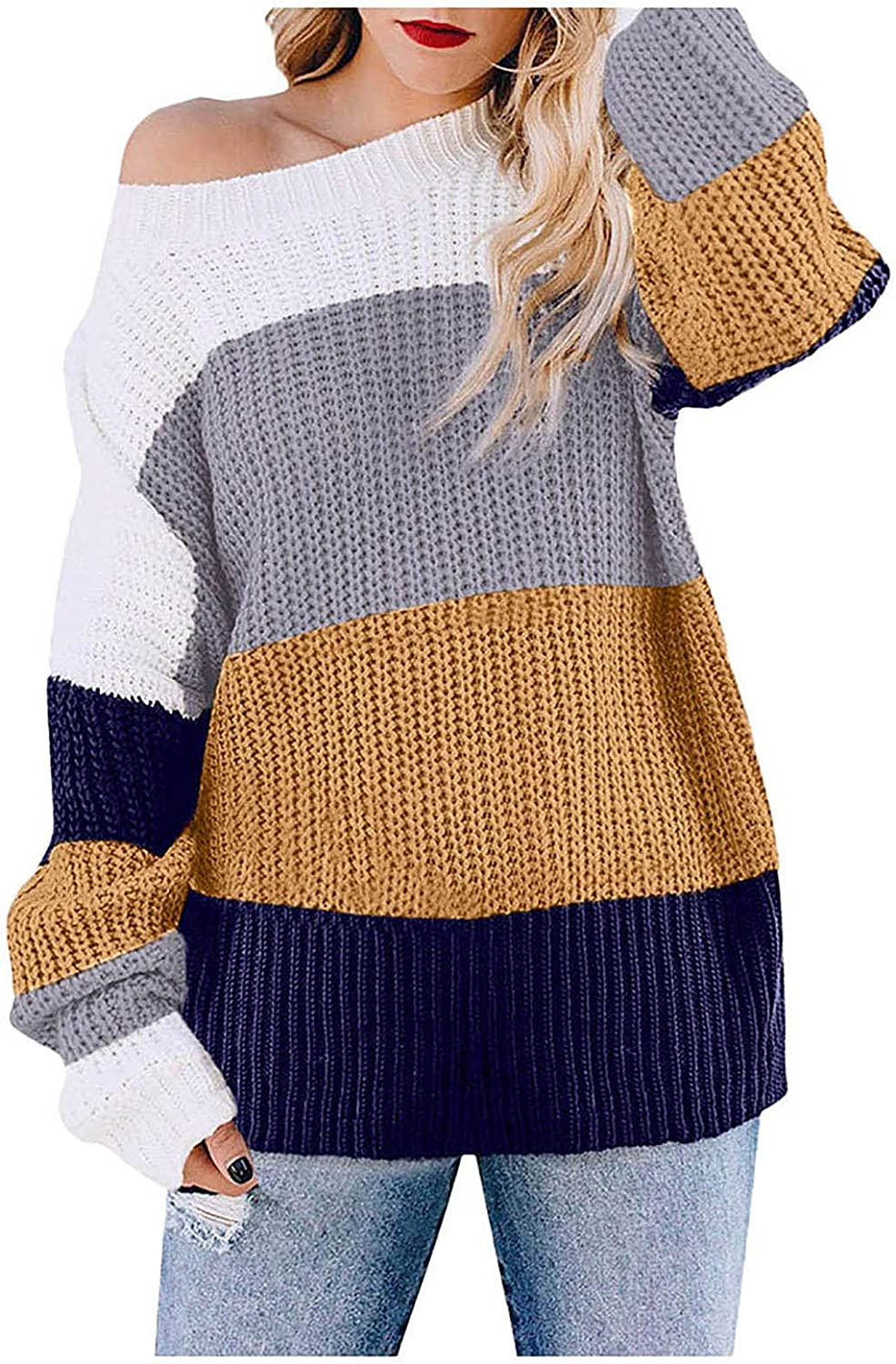 Sunhusing Women's Casual Loose Sweater Color Block Knit Pullover Off Shoulder Comfy Oversized Jumper Knitwear with Pocket
