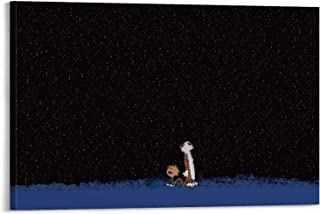 Calvin and Hobbes Cartoon Star Sky Evening Star Night Canvas Art Poster and Wall Art Picture Print Modern Family Bedroom D...