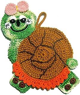 Agarradera de colores en forma de caracol de ganchillo - Tamaño: 12 cm x 20.5 cm H - Handmade - ITALY