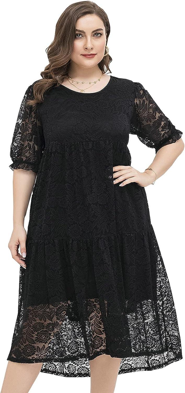 Women Plus Size Black Floral Lace Short Puff Sleeve Midi Maternity Friendly Cocktail Dress