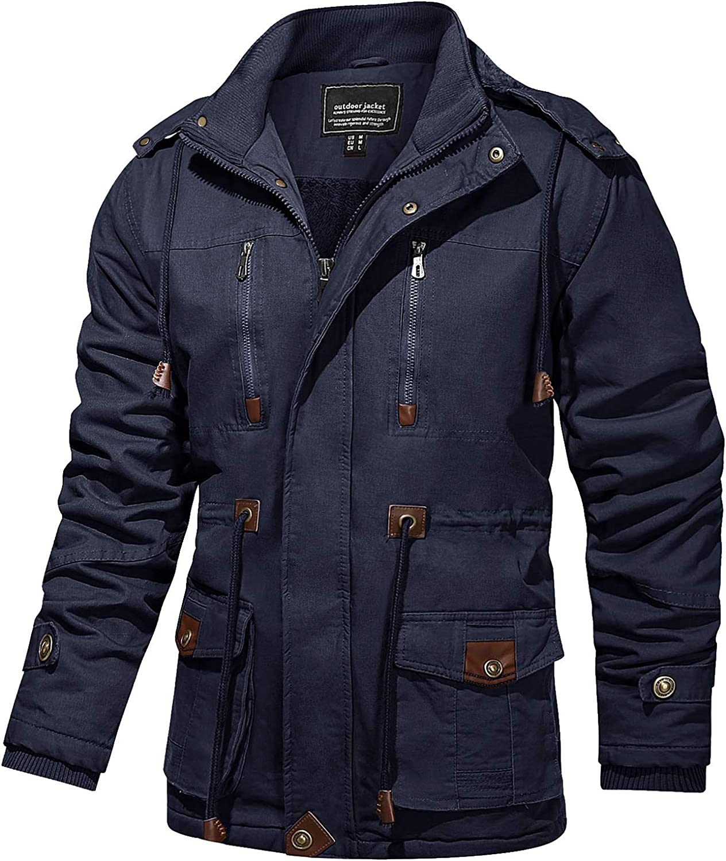 TACVASEN Men's Coats Winter Thicken Fleece Cotton Military Tactical Work Jackets with Hood
