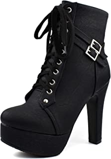100FIXEO Sexy Platform Goth High Heel Ankle Boots For Women Stripper Heels Lace Up Booties Chunky Biker Boots