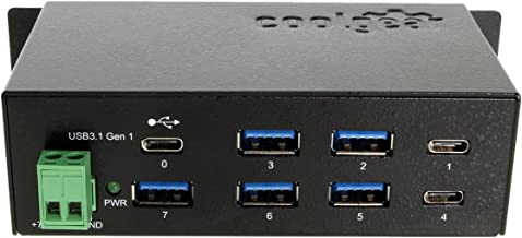 Coolgear USB-C 7 Port Hub with 3 Type-C and 5 USB 3.1 Type-A Ports DIN Rail and Surge Protection