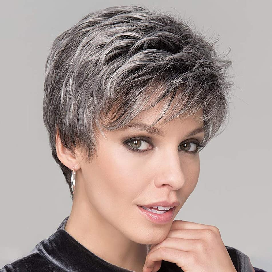JYS Gray Mix Color Fluffy Wigs,100% Human Hair High Temperature Silk Wig Pixie Cut Hair Natural Synthetic Wigs For Women Cosplay Party Wig