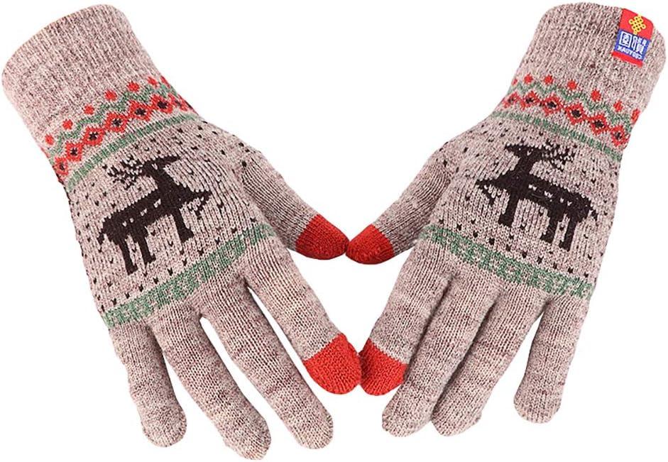 LUOZZY Thicken Knitted Gloves Winter Full Finger Gloves Christmas Warm Gloves (Grown)