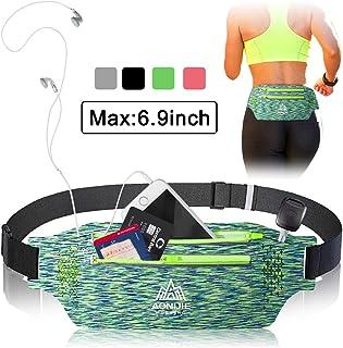 ALLYAOFA Running Belt, Breathable Waist Pack Belt Sweatproof, Fitness Belt with Headphone Hole, Slim Adjustable Sport Trav...