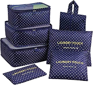 7 Set Packing Cubes with Shoe Bag - Travel Carry On Luggage Organizer (Navy Blue Circle)