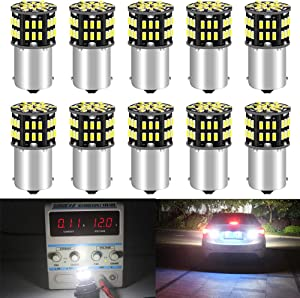 Qoope - pack of 10 - 6500K White 1156 BA15S 1141 1003 1073 7506 LED Bulbs 3014 54-SMD Replacement Lamps for 12V Interior RV Camper Trailer Lighting Boat Yard Light Backup Tail Bulbs
