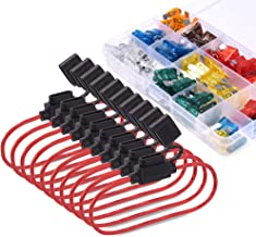 MICTUNING Standard Fuse Assortment kit 120 PCS Blade Fuses with 10 Pack 14 AWG Inline Fuse Holder for Cars Boats Trucks Include Fuse Puller