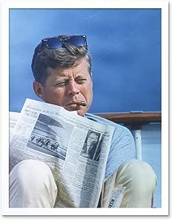 President JFK Kennedy Cigar Newspaper Photo Art Print Framed Poster Wall Decor 12x16 inch